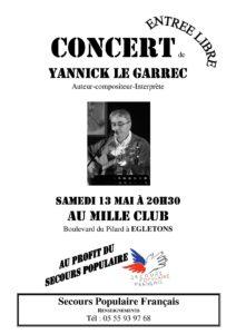 Yannick Le Garrec en concert à Egletons, le samedi 13 mai à 20h30, au Mille Club à Egletons, au profit du Secours Populaire