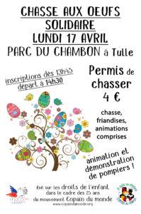 Chasse aux oeufs solidaire, le 17 avril au Parc du Chambon à Tulle